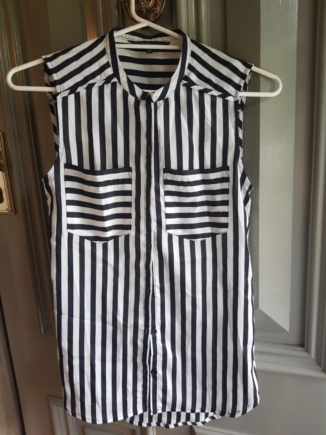 FRENCH CONNECTION black and white striped sleeveless shirt. Size 6.