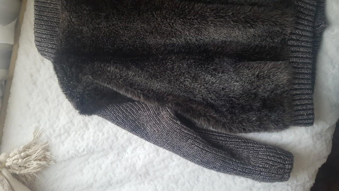Faux fur + knit + leather bomber jacket