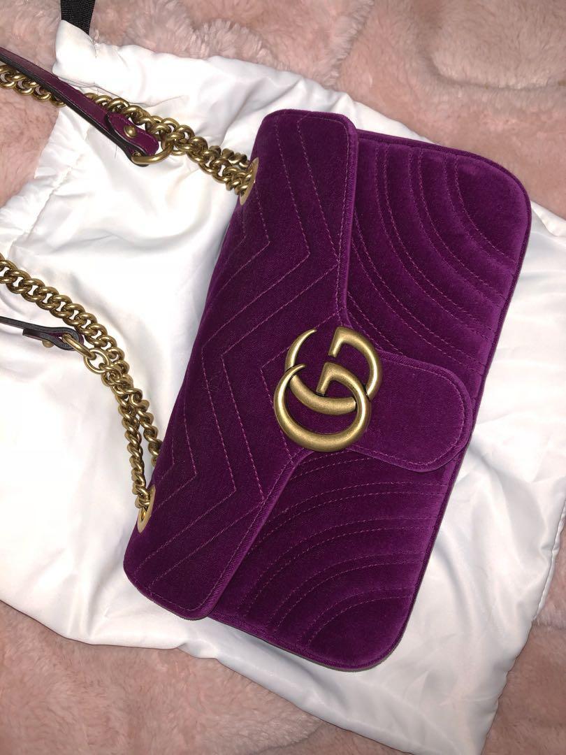 9c411bd5d5a3 Gucci Marmont Velvet Ruby Original size, Women's Fashion, Bags ...