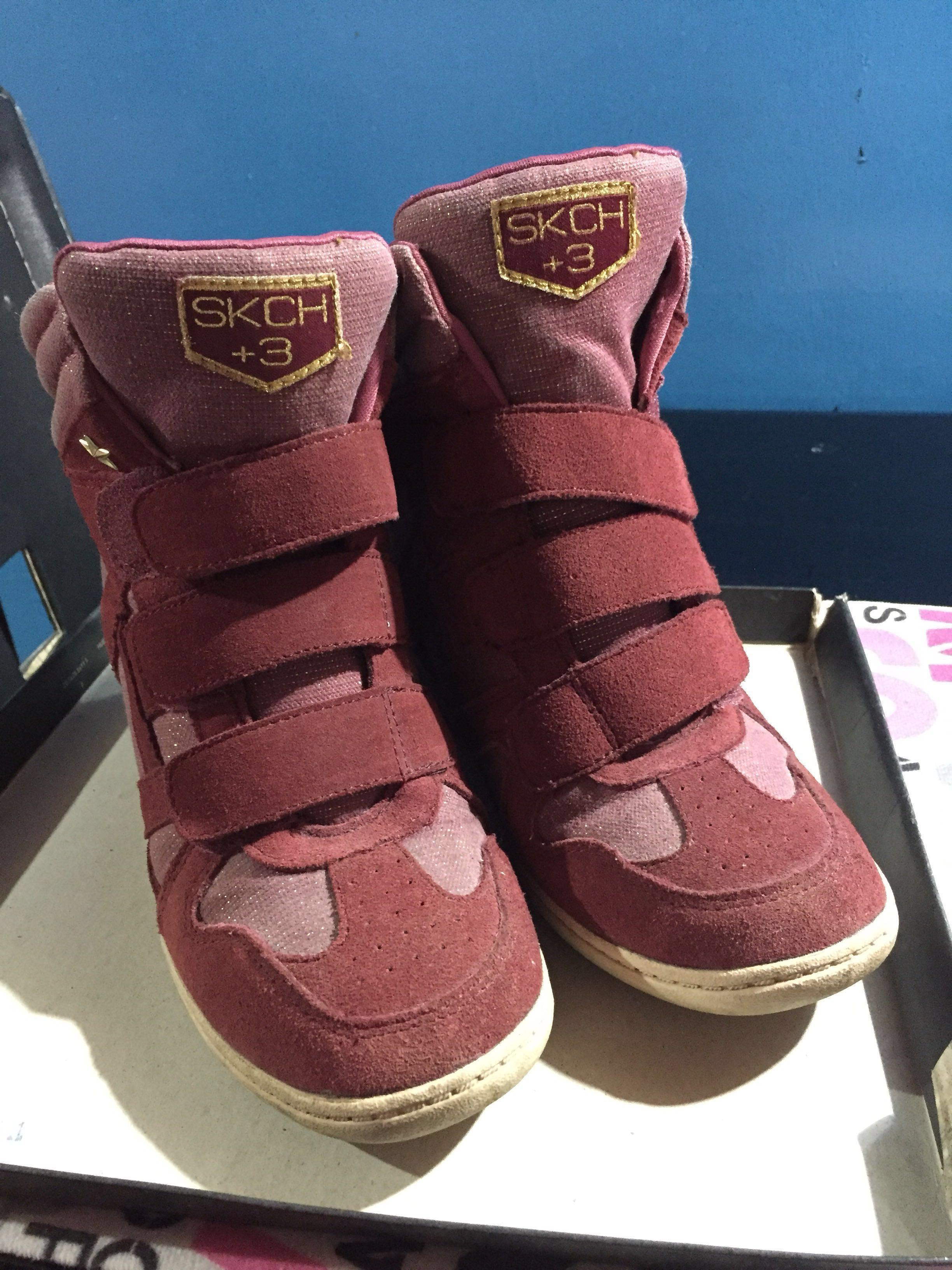Maroon Skechers High Cut Shoes for