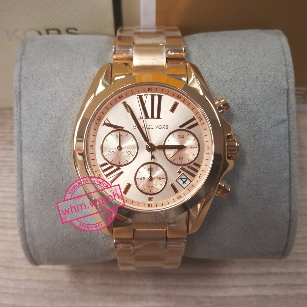 b23d7855b2cf Michael Kors MK watch MK5799 Mini Bradshaw Rose Gold-Tone Stainless ...