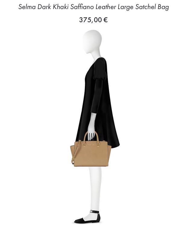 Michael Kors Selma Dark Khaki Saffiano Leather Large Satchel Bag