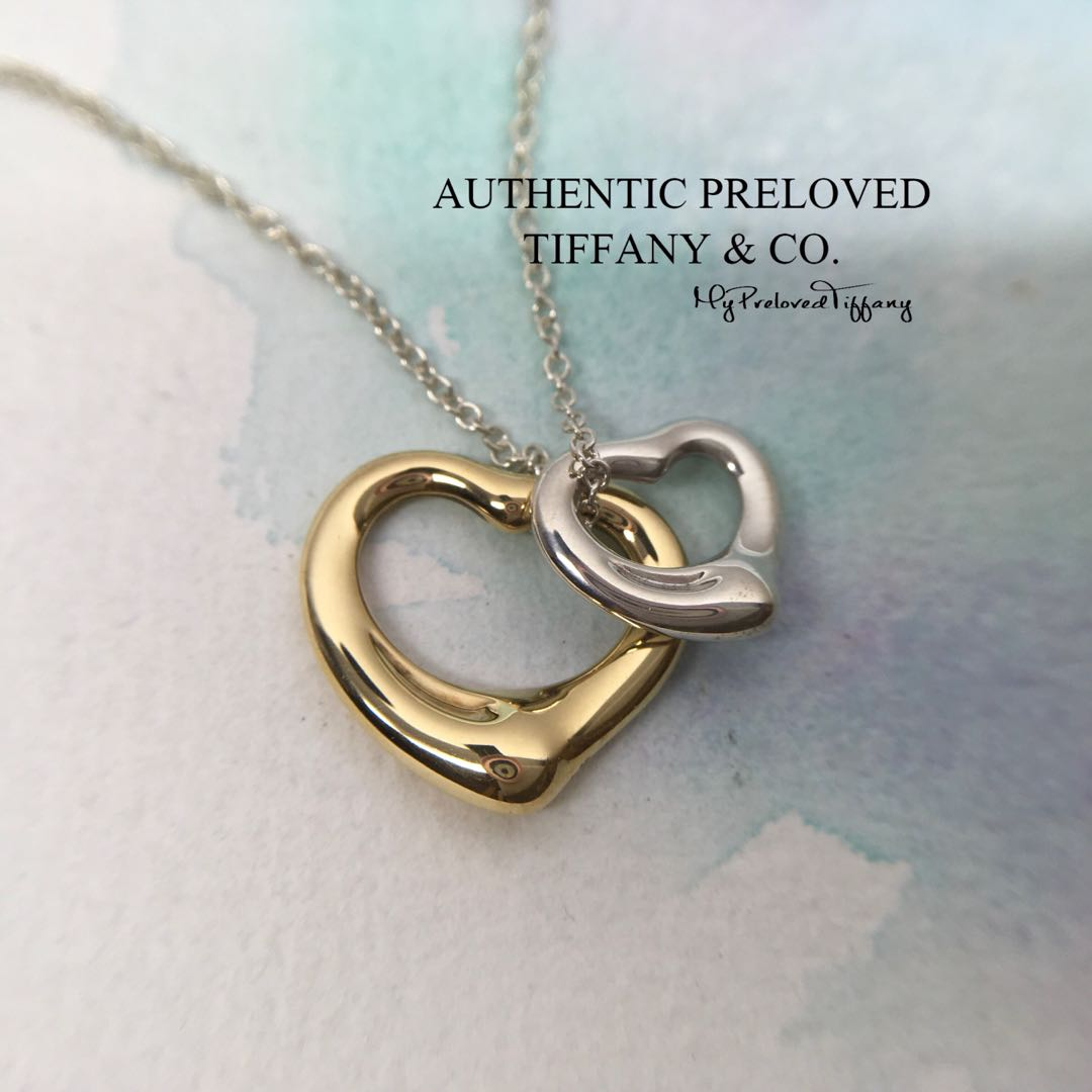 6a12f92482b62 Mint Tiffany & Co Elsa Peretti Double Open Heart Silver x Yellow Gold  Necklace 65% off Retail