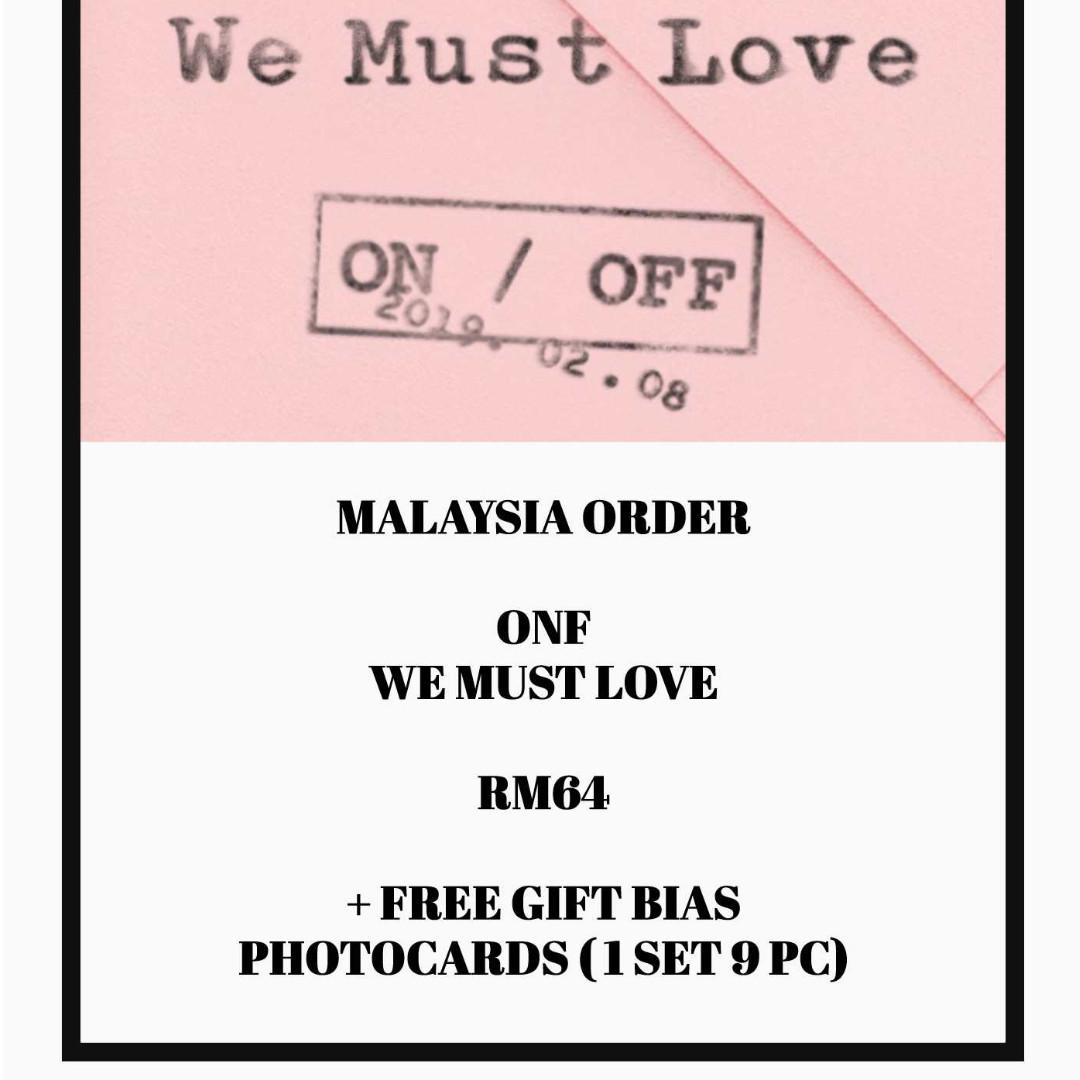 ONF - WE MUST LOVE - ALBUM ORDER + FREE GIFT BIAS PHOTOCARDS (1 ALBUM GET 1 SET PC, 1 SET HAS 9 PC)