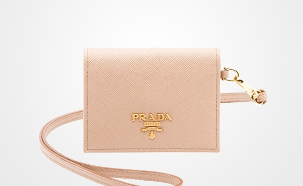 6667d5807051 PRADA Saffiano Card Case Badge ID Holder with Leather Lanyard Mini ...