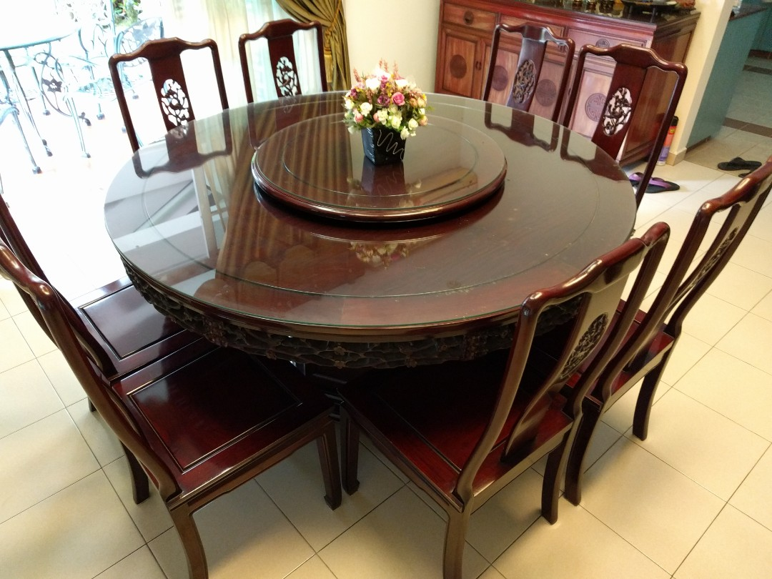 00a424fdd3c11 Rosewood round table Dining Set with 8 chairs