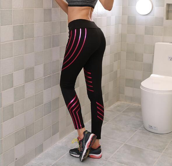TIGHT WOMEN SEXY SKINNY STRIPE LEGGINGS FITNESS OUTFIT