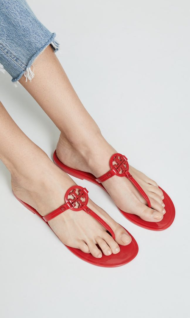 97f90473664 Tory Burch Ruby Red Logo Sandals