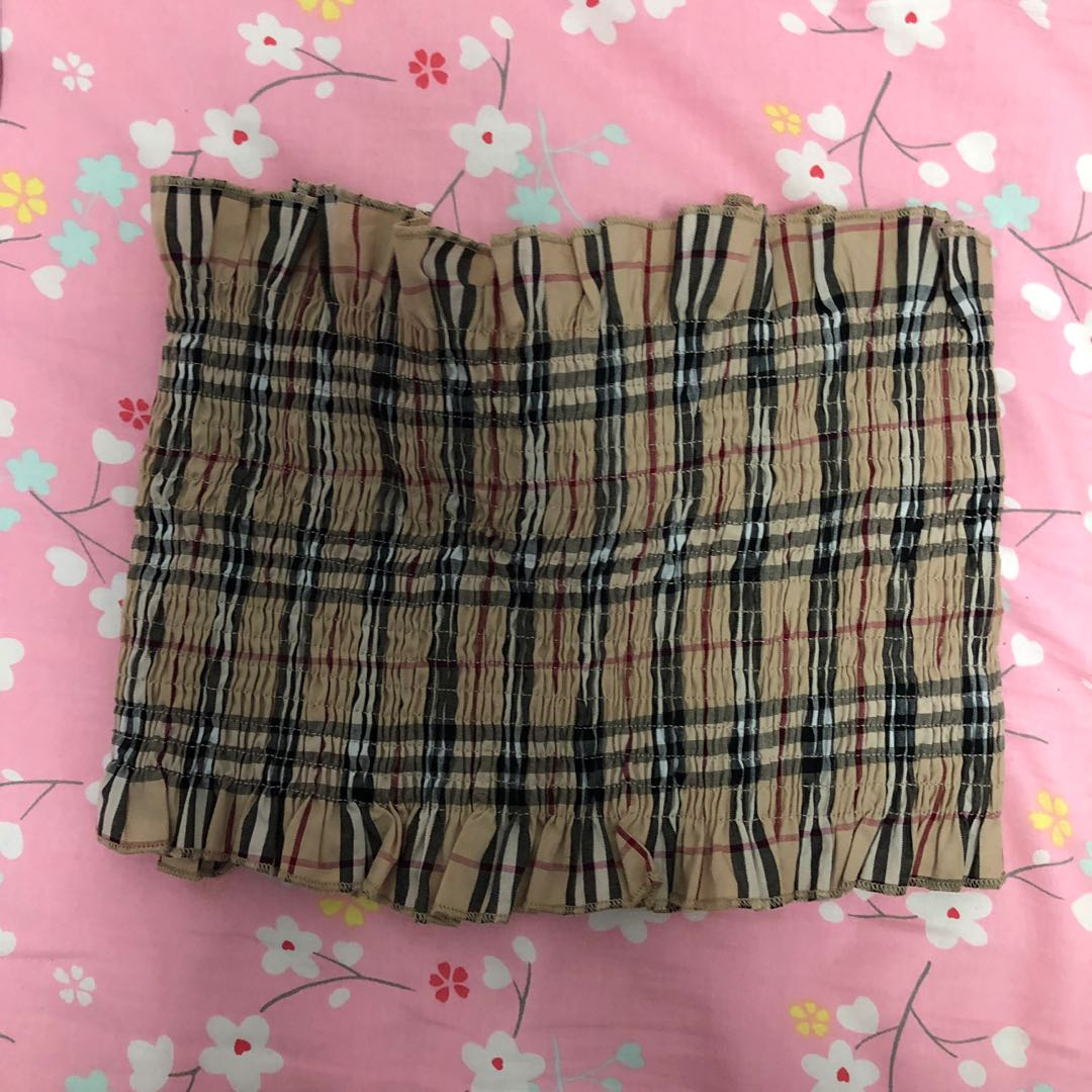 7af60925ac Tube Top Burberry Plaids Print Scrunched