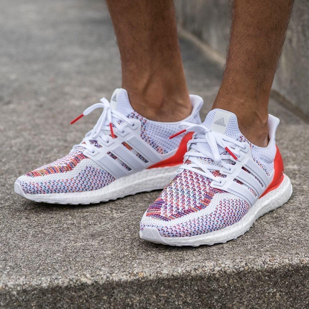 d9fa9285dd9 US9.5 Adidas Mens Ultra Boost 2.0 White Red Multicolor