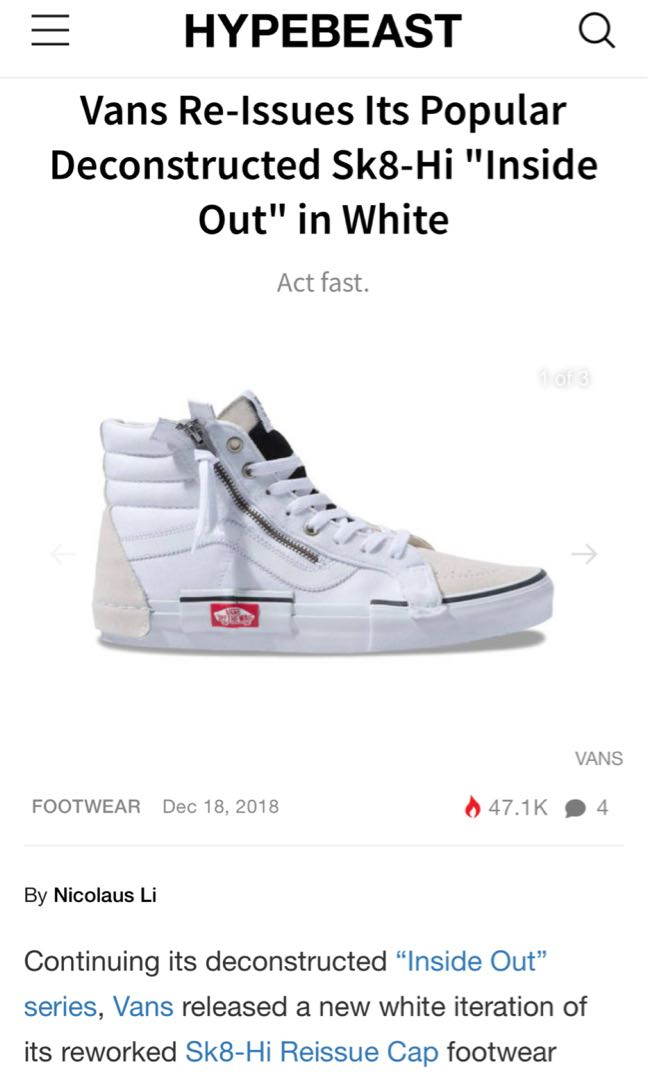 ea45f39d4c7 Vans Deconstructed Sk8-Hi Inside Out White