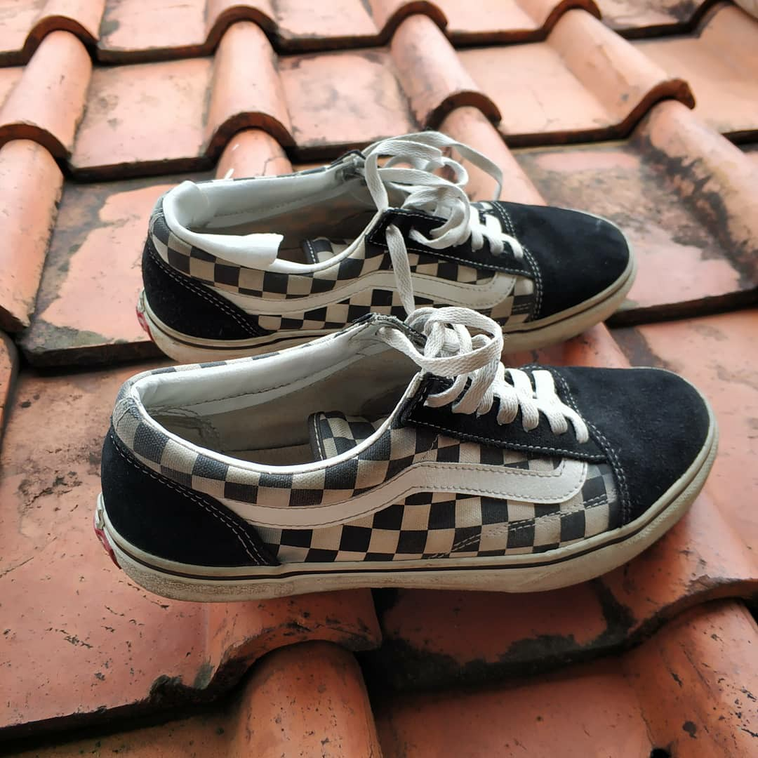db53dd853c VANS OLD SKOOL V36-38 BLACK WHITE CHECK 🇯🇵