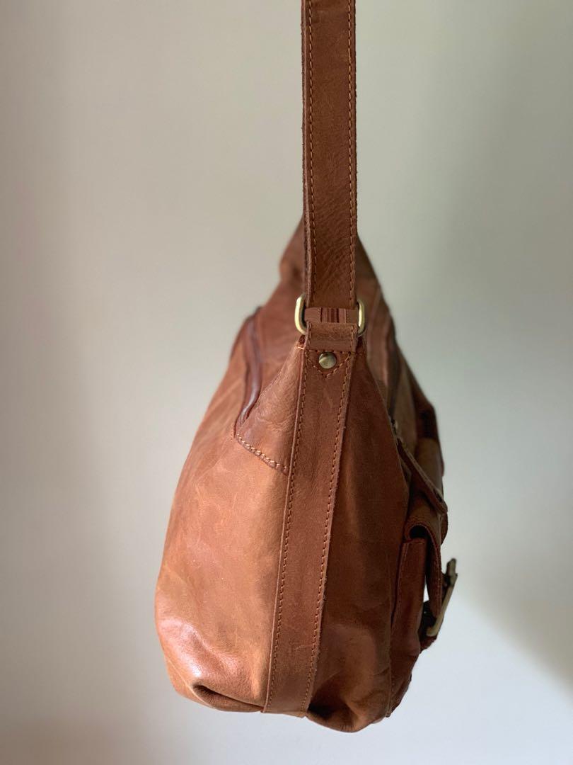 39b242335beb Women's Light Brown Genuine Leather Handbag with Adjustable strap ...