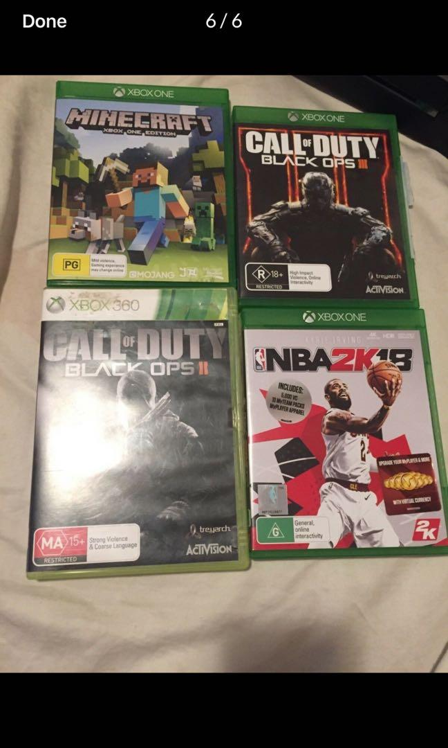 Xbox one games. Minecraft. NBA2k18. Cod black ops 2 and 3