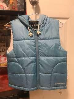 BMWT GUESS Winter Vest Turquoise Blue Hood Woman Ladies
