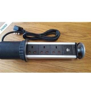 Pop-up Power Socket 3gang 2usb