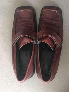 Maroon Leather Loafers