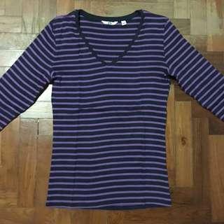 Uniqlo Purple Black Striped Long Sleeve Shirt/ Top