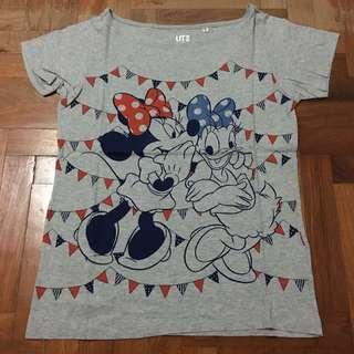 Uniqlo Disney Minnie Mouse & Daisy Duck Grey Shirt/ Top