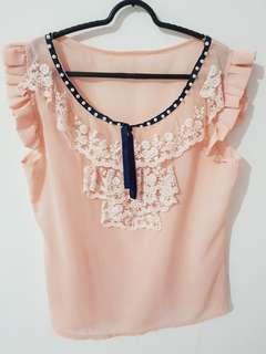 Atasan brokat pink leher