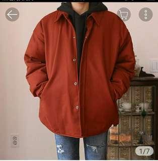 🚚 韓國鋪棉夾克 磚紅色(可小議)