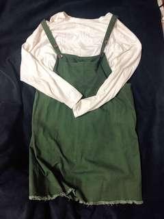 🚚 綠色寬版吊帶裙