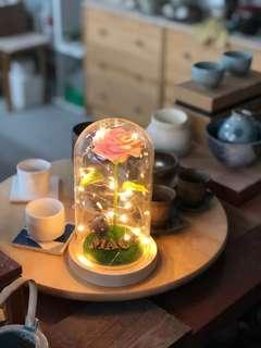 永生花玻璃瓶黏土玫瑰擺設附贈小動物純手工製作情人節生日禮物