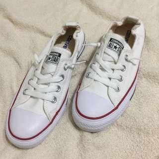 🚚 Converse 全新鬆緊口低筒帆布鞋 全白