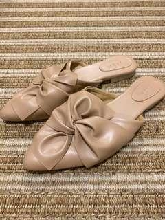 Nude Leather Bow Mules