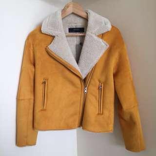 Zara faux suede & shearling biker jacket