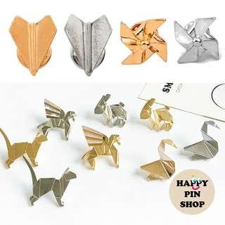 🚚 [AVAIL] 3D Origami Pins - Silver, Gold