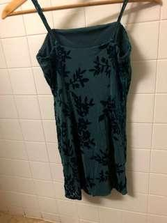 Deep Green Floral Dress