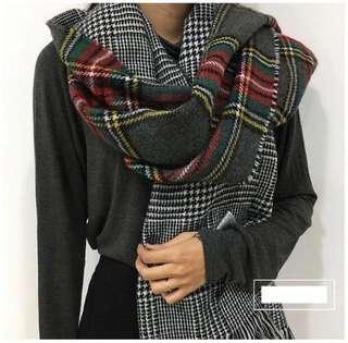 🚚 全新歐美外貿原單.千鳥紋*格紋蘇格蘭紋雙面流蘇毛料圍巾