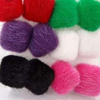 6 pairs of Fur Square Earrings