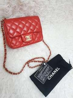 Fast Sale Chanel Mini Square Coral Caviar GHW #20