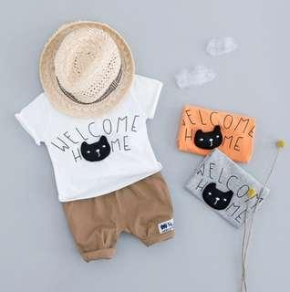 🚚 🌟PM for price🌟 🍀Baby Boy Cat Design Short Sleeves Top+Shorts 2pcs Set🍀