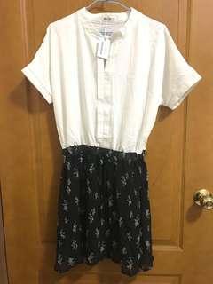 🚚 (全新)小碎花短袖拼接洋裝