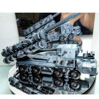 自行組裝 現貨 4D拼裝軍事車模型1:72戰術S300導彈車 地對空導彈車模