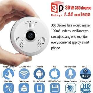 🚚 360 Degrees Panoramic Super Wide Angle IP Wifi CCTV Camera - Clear, Night Vision, Phone App