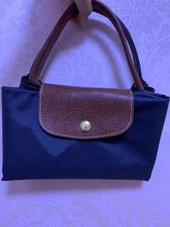 Longchamp 短帶寶藍色大袋