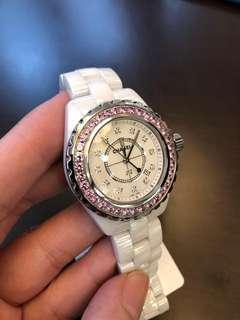 Like New Chanel J12 33mm Diamond Pink Ring Diamond Pink Dial White Ceramic 2010 Komplit