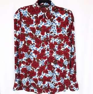 ZARA Red Flower Shirt