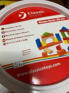 Classicntoys wooden blocks (100 pcs)