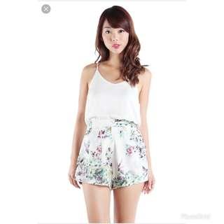The Tinsel Rack Magnolia Floral Chiffon Shorts in White