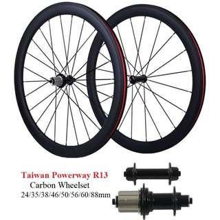 700c Taiwan Powerway R13 Carbon Wheelset 12 months warranty