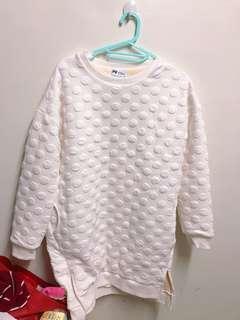 白色點點內絨毛超保暖長版衣