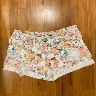 Pre-loved Stradivarius Floral Ripped Shorts