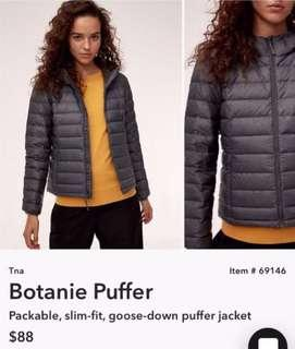 Aritzia tna goose down puffer / bubble jacket grey mesh colour