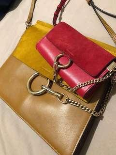 Red chloé faye wallet/crossbody purse