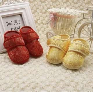 🚚 CNY SPECIAL!BN Baby Embroidered Chinese Soft Shoes! Crib shoes prewalkers 0-12mths! Red and Gold avail!